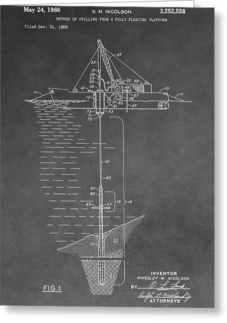 Sea Platform Greeting Cards - Floating Oil Platform Patent Greeting Card by Dan Sproul