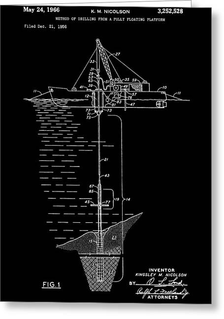 Sea Platform Greeting Cards - Floating Oil Rig Patent Greeting Card by Dan Sproul