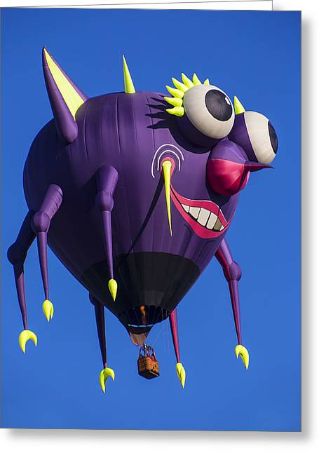 Ballooning Greeting Cards - Floating purple people eater Greeting Card by Garry Gay