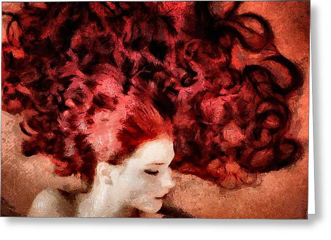 Curled Hair Greeting Cards - Floating red Greeting Card by Gun Legler