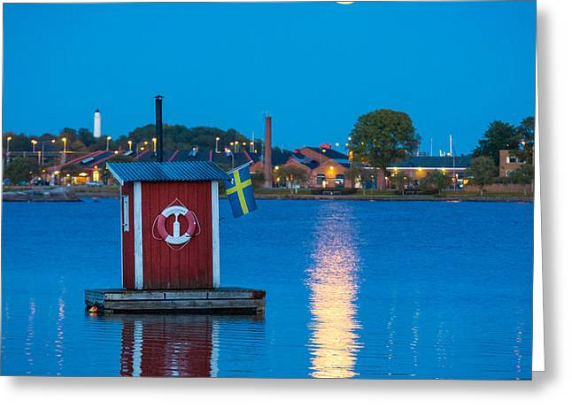 Reflecting Water Greeting Cards - Floating Sauna Greeting Card by Inge Johnsson