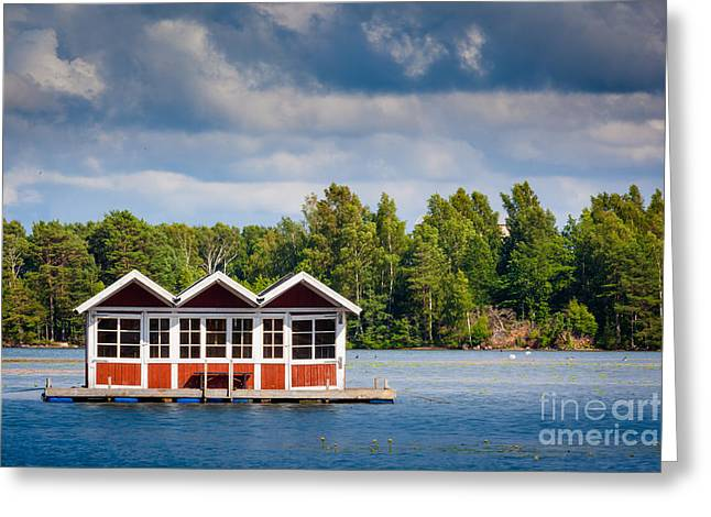 Europa Greeting Cards - Floating Shacks Greeting Card by Inge Johnsson