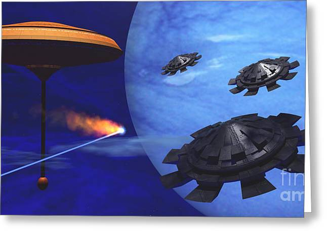 Meteor Digital Art Greeting Cards - Floating Space City Greeting Card by Corey Ford