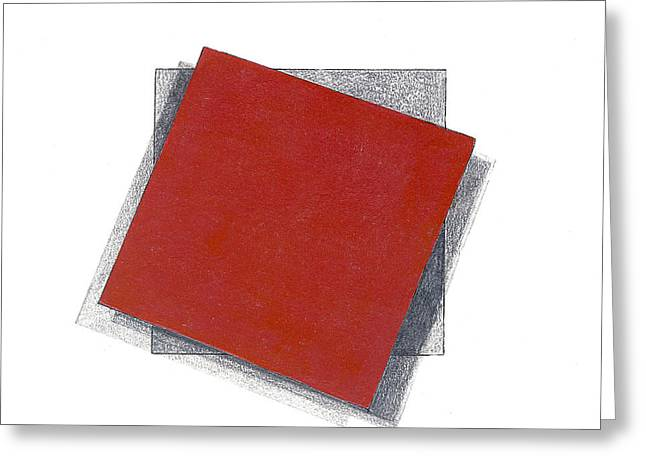 Burgundy Drawings Greeting Cards - Floating Square 1 Greeting Card by John Castell