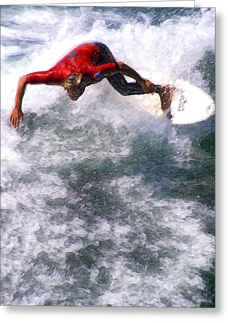 Surf City Digital Greeting Cards - Floating Through The Soup Greeting Card by Ron Regalado