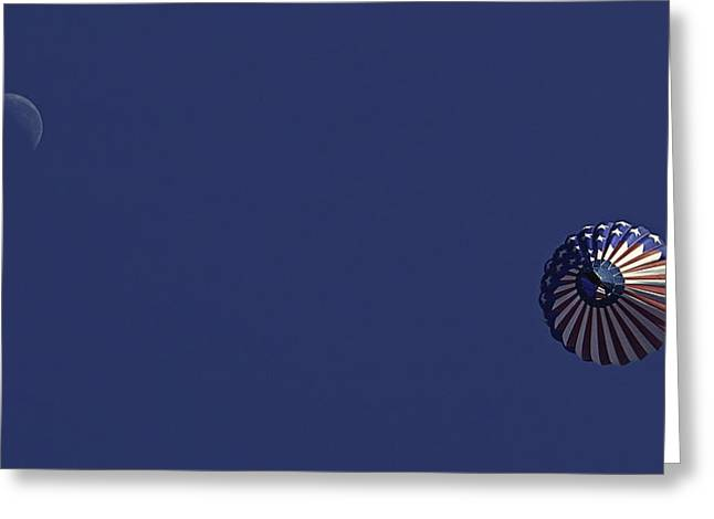 Hot Air Greeting Cards - Floating to the moon Greeting Card by Andy Crawford