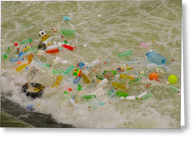 Polution Greeting Cards - Floating Trash in river Greeting Card by Celso Diniz