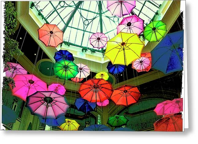 Las Vagas Greeting Cards - Floating Umbrellas In Las Vegas  Greeting Card by Susan Stone