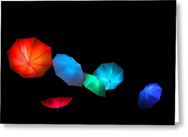 Floating Umbrellas  Greeting Card by James Hammen