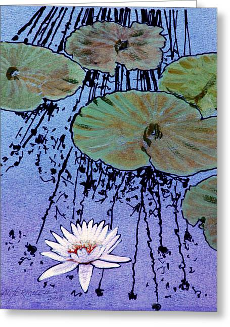 Water Garden Drawings Greeting Cards - Floating White Lily Greeting Card by John Lautermilch