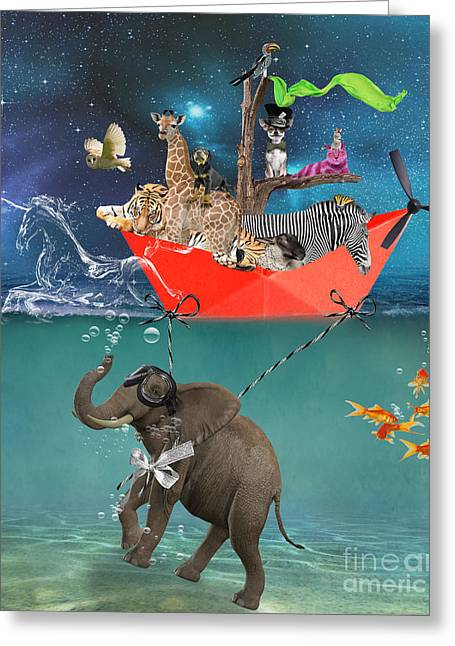 Feline Fantasy Greeting Cards - Floating Zoo Greeting Card by Juli Scalzi