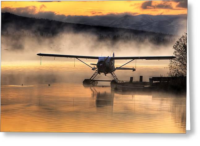 Floatplane Greeting Cards - Floatplane Sitting On Beluga Lake Greeting Card by Michael Criss