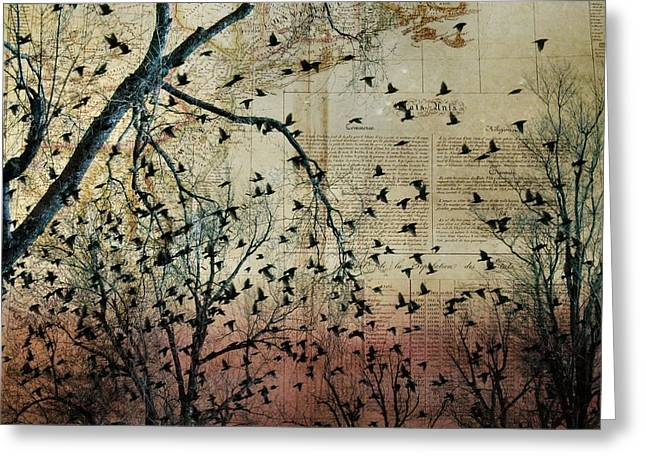 Nature Collage Greeting Cards - Flock Of Birds Collage Greeting Card by Gothicolors Donna Snyder