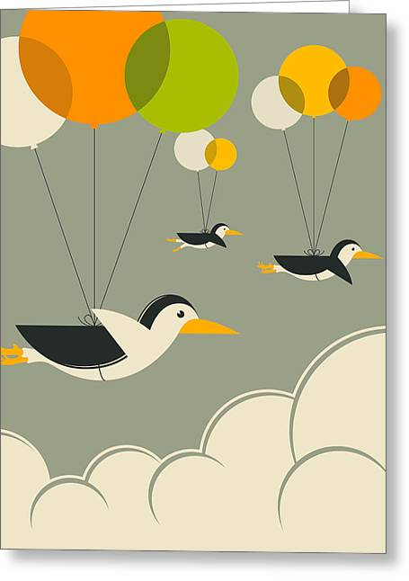 Flock Greeting Cards - Flock Of Penguins Greeting Card by Jazzberry Blue