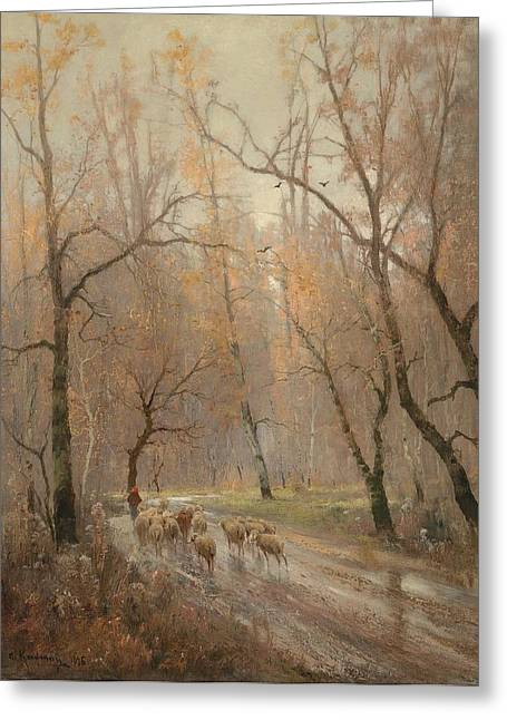 Way Home Greeting Cards - Flock Of Sheep On The Way Home Greeting Card by Adolf Kaufmann