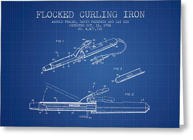 Curling Greeting Cards - Flocked Curling Iron patent from 1984 - Blueprint Greeting Card by Aged Pixel