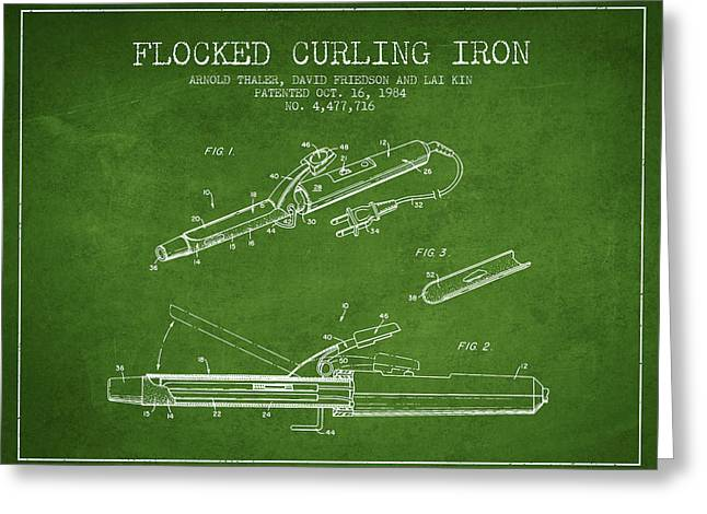 Technical Greeting Cards - Flocked Curling Iron patent from 1984 - Green Greeting Card by Aged Pixel