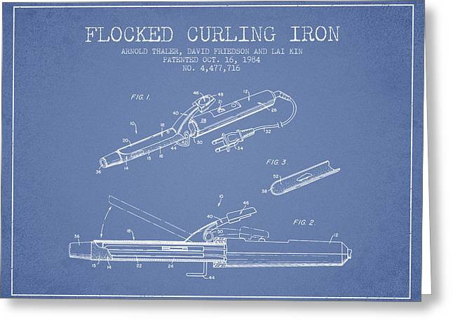 Curling Greeting Cards - Flocked Curling Iron patent from 1984 - Light Blue Greeting Card by Aged Pixel