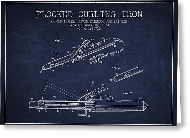 Curling Greeting Cards - Flocked Curling Iron patent from 1984 - Navy Blue Greeting Card by Aged Pixel