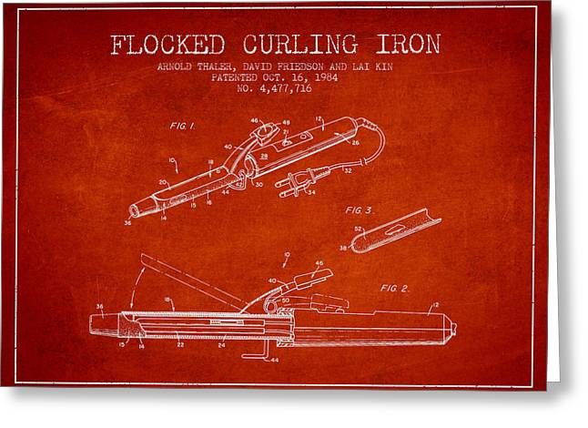 Curling Greeting Cards - Flocked Curling Iron patent from 1984 - Red Greeting Card by Aged Pixel