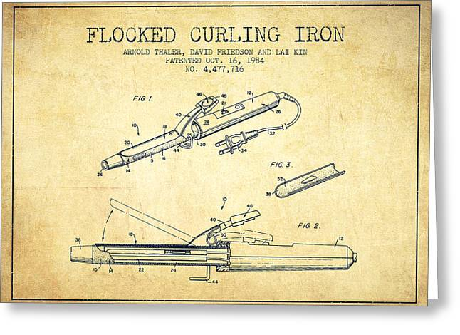 Curling Greeting Cards - Flocked Curling Iron patent from 1984 - Vintage Greeting Card by Aged Pixel