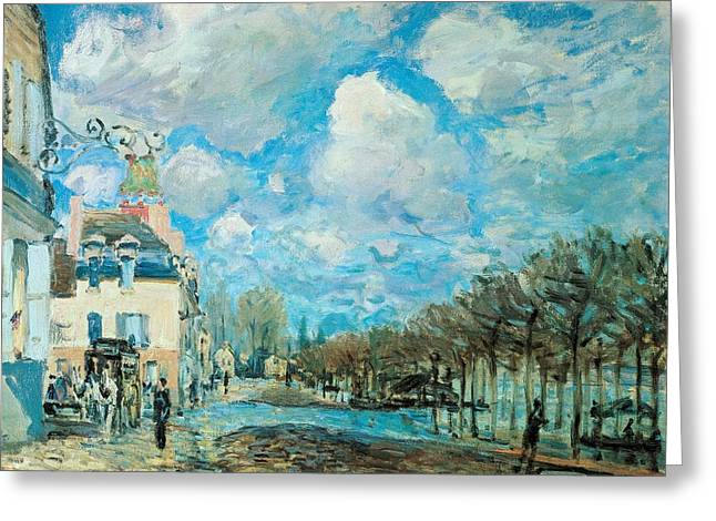 France 1874-1886 Greeting Cards - Flood at Port-Marly Greeting Card by Alfred Sisley