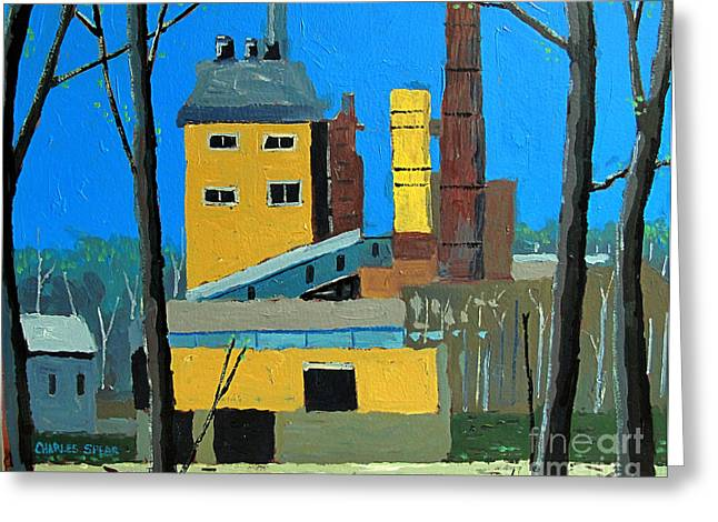 Power Plants Paintings Greeting Cards - Flood by the Power Plant Greeting Card by Charlie Spear