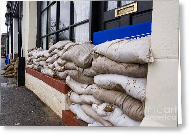 River Flooding Greeting Cards - Flood Defenses Greeting Card by Mark Williamson