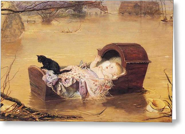 Baby Cradle Greeting Cards - Flood Greeting Card by John Everett Mailas