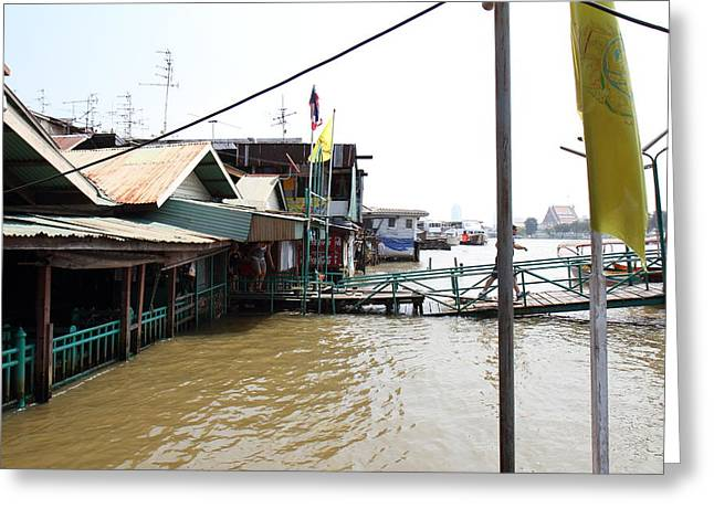 Flooded Greeting Cards - Flooded docks of a river boat taxi in Bangkok Thailand - 01131 Greeting Card by DC Photographer