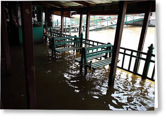 Taxi Greeting Cards - Flooded docks of a river boat taxi in Bangkok Thailand - 01132 Greeting Card by DC Photographer
