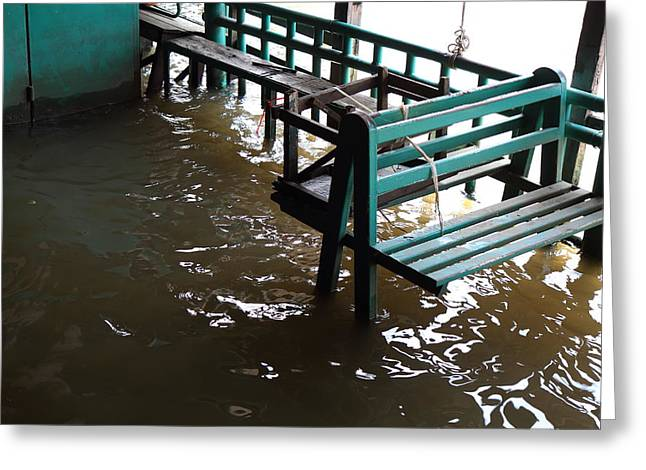 Flooded Greeting Cards - Flooded docks of a river boat taxi in Bangkok Thailand - 01133 Greeting Card by DC Photographer