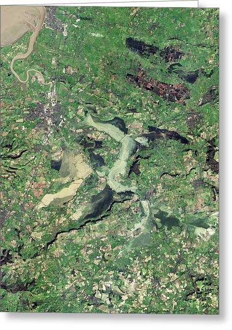 Flooded Somerset Levels Greeting Card by Nasa