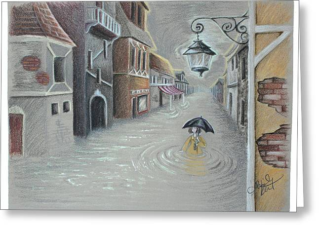Floods Drawings Greeting Cards - Flooded Streets Greeting Card by Abigail Kraft
