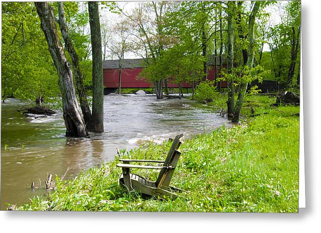 Flood Digital Art Greeting Cards - Flooded Tohickon Creek at Sheards Mill Covered Bridge Greeting Card by Bill Cannon