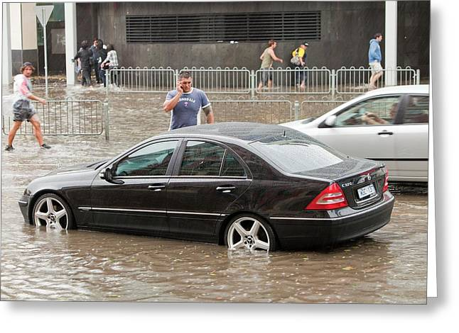 Flooding In Melbourne Greeting Card by Ashley Cooper