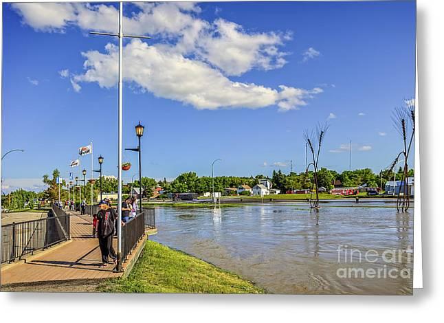 River Flooding Greeting Cards - Flooding in Weyburn Greeting Card by Viktor Birkus