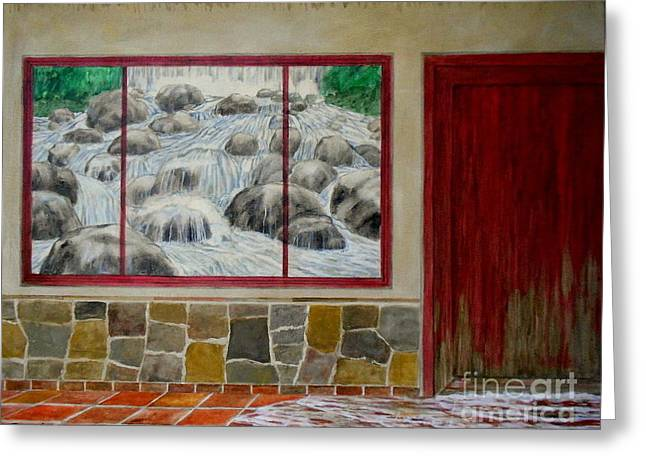 River Flooding Paintings Greeting Cards - Flooding Greeting Card by Nestor Martinez