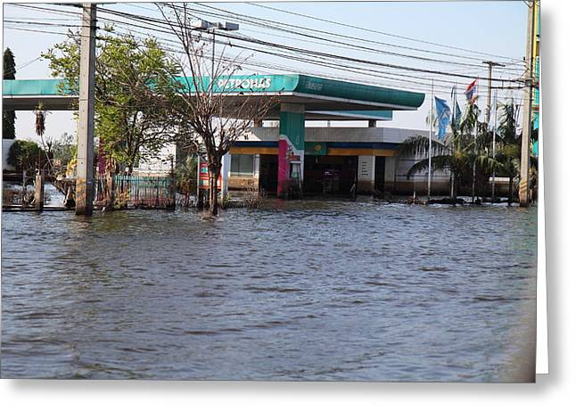 Flooded Greeting Cards - Flooding of stores and shops in Bangkok Thailand - 01133 Greeting Card by DC Photographer