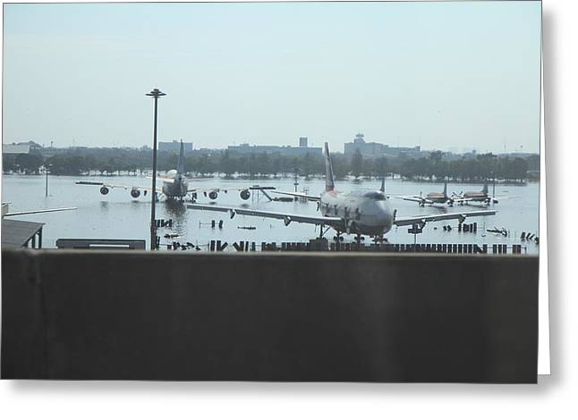 Flooding of the airport in Bangkok Thailand - 01135 Greeting Card by DC Photographer