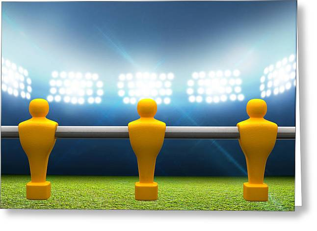 Tabletop Digital Art Greeting Cards - Floodlit Stadium With Foosball Players Greeting Card by Allan Swart