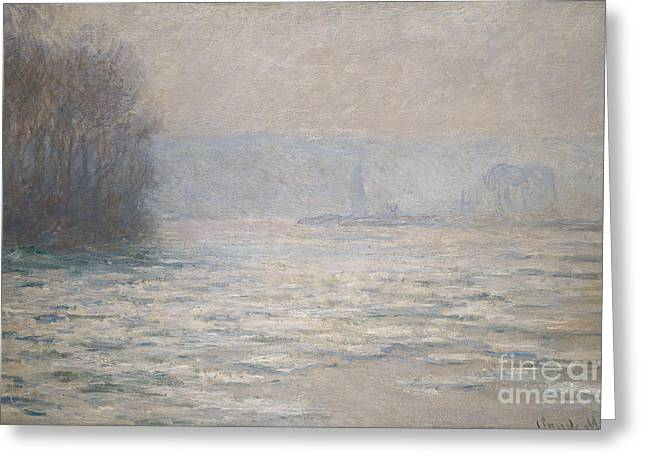French Signs Greeting Cards - Floods on the Seine near Bennecourt Greeting Card by Claude Monet