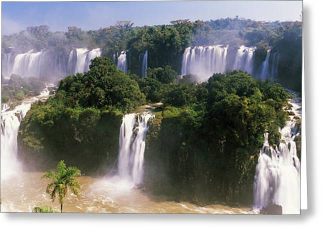The Natural World Greeting Cards - Floodwaters At Iguacu Falls, Brazil Greeting Card by Panoramic Images