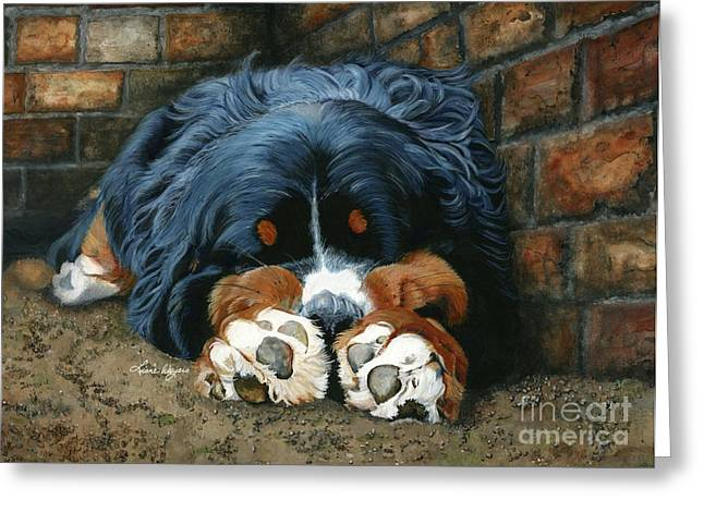 Berner Greeting Cards - Flop those lips fast asleep extra ventilation Greeting Card by Liane Weyers