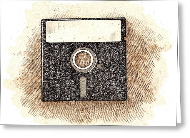 Disk Drawings Greeting Cards - Floppy Disk Greeting Card by Dan Nelson