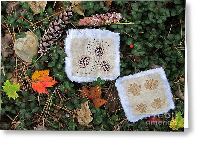 Pine Cones Tapestries - Textiles Greeting Cards - Flora and Fiber Greeting Card by Linda Marcille