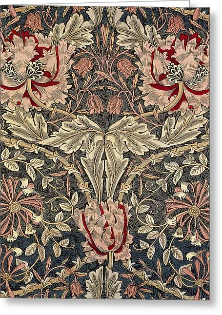 Wallpaper Tapestries Textiles Greeting Cards - Flora and foliage design Greeting Card by William Morris