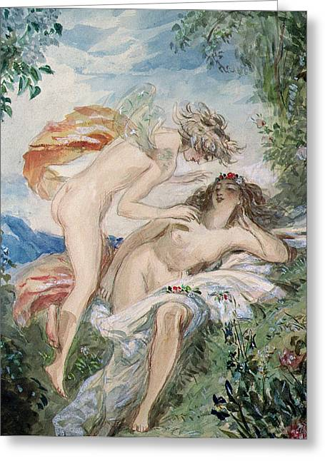Flora Greeting Cards - Flora and Zephyr Greeting Card by Alfred-Edward Chalon