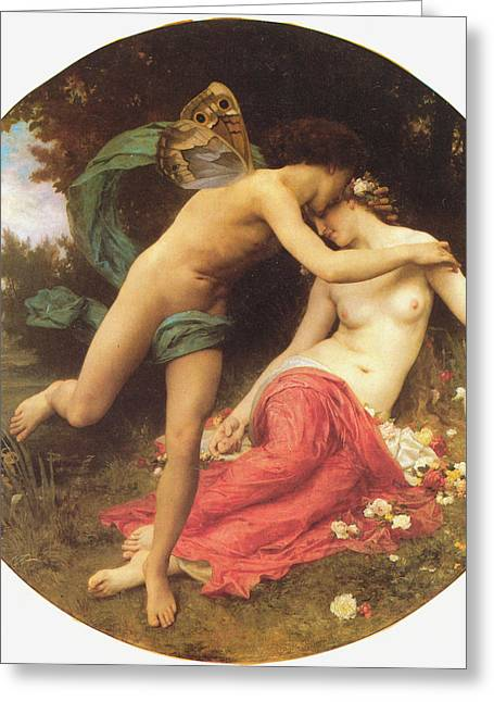Buterfly Greeting Cards - Flora and Zephyr Greeting Card by William Bouguereau