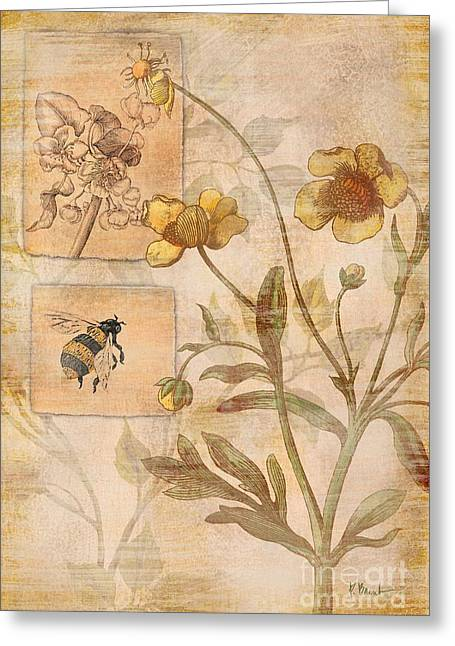 Yellow Dragonfly Greeting Cards - Flora Bumble Bee Greeting Card by Paul Brent